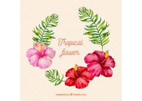 美丽的花卉水彩画夏日背景_2221281