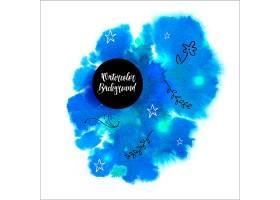 美丽的蓝色水彩画背景带有手绘的花卉元素_1121002