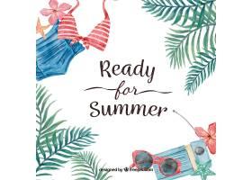 背景文字为为夏天做好准备带有水彩画_1257882