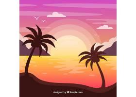 美丽的夏日背景夕阳西下的棕榈树_2224892