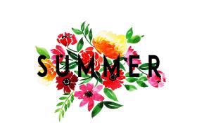 美丽的夏日背景带着水彩画的花朵_2259109