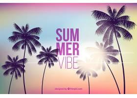 美丽的夏日背景日落时棕榈树的剪影_2240821