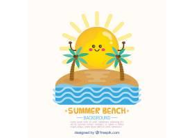 美丽的夏日背景有阳光和棕榈树_1112050