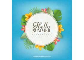 热带花卉的夏日背景_1145112