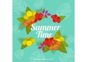 热带花卉的夏日背景_1174994