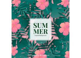 热带花卉的夏日背景_2232626