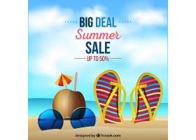 现实主义风格的夏季销售背景_2174995