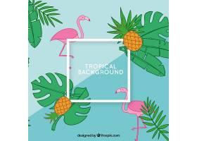 热带夏季背景火烈鸟和菠萝_2200187