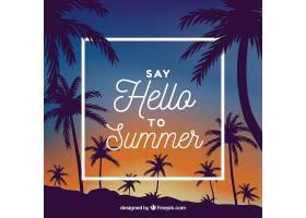 热带夏日背景棕榈树的剪影_2235597