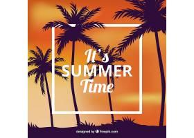 热带夏日背景棕榈树的剪影_2235599