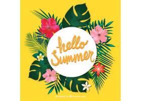 热带树叶和花朵夏季徽章_895922