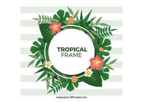热带树叶的圆形框架_2224997