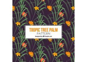 热带背景棕榈叶和花朵_1103706