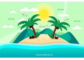 热带背景有岛屿和棕榈树_2196039