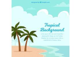 热带背景有海滩和棕榈树_2211143