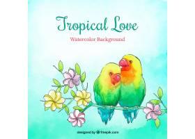 热带夏季为背景水彩画风格的鸟儿_2200178