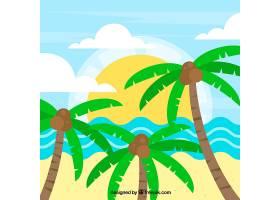 海滩景观背景平面设计为棕榈树_1106819