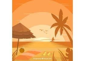 海滩的背景是日落时的棕榈树和鸟儿_1001697