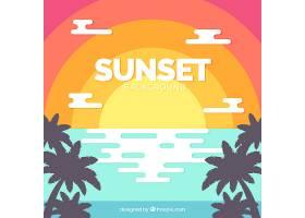 海滩上日落的五颜六色的背景_910271