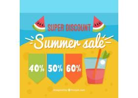 海滩上的夏季促销背景带着饮料_1134551