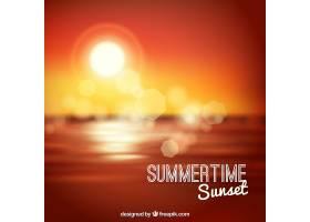 海滩上的日落背景散焦_1113851