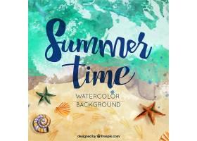 海滩上的水彩画夏日背景_892814