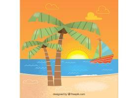 海滩为背景有船和棕榈树_1106412