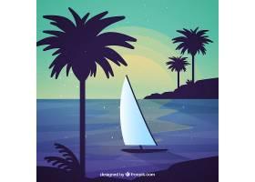 海滩为背景有船和棕榈树_1184854