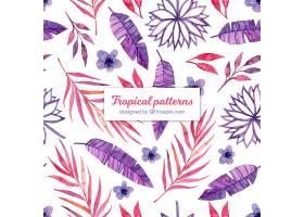 水彩画中不同树叶的热带夏季图案_2211527