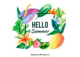 水彩画的夏日背景有水果和鲜花_1117393