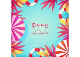 水彩画风格的夏季销售背景_2181414