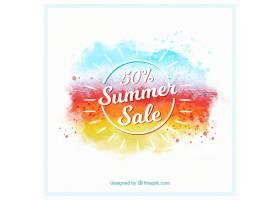 水彩画风格的夏季销售背景_2181418