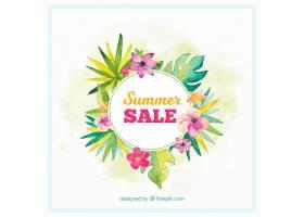 水彩画风格的夏季销售背景_2181421