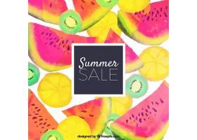 水彩画风格的夏季销售背景_2412400