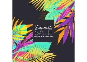 水彩画风格的夏季销售背景_2412401