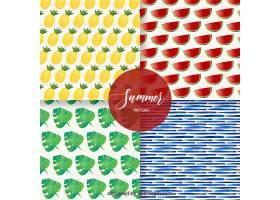 水彩画风格的带有水果和树叶的一套夏季图案_2174931