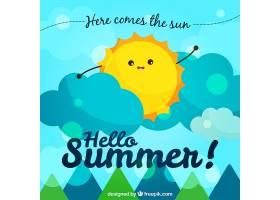 有阳光和云彩的夏日背景_1113049
