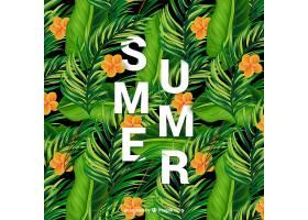 棕榈叶和热带花卉的背景_1194747