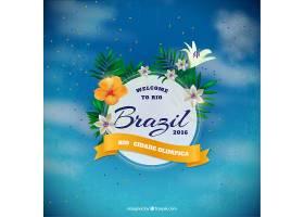 无焦点的天空背景带有巴西的花卉徽章_893914