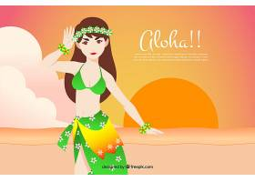 日落时夏威夷女孩在海滩上的背景_1174677