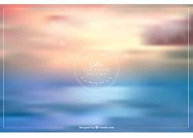 日落时大海的散焦背景_1112114