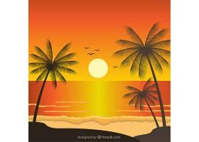 日落时有棕榈树的奇妙风景_1001683