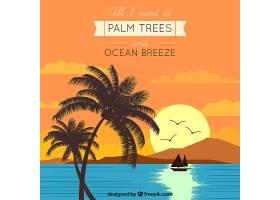 日落时的海滩背景有船和棕榈树_1097333