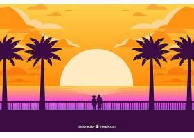 日落时的热带夏季背景_2235318