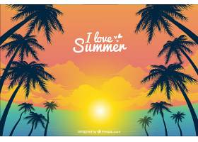 日落时的热带夏季背景_2235319