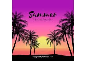 日落时的热带夏季背景_2235320