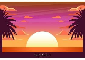 日落时的热带夏季背景_2235321