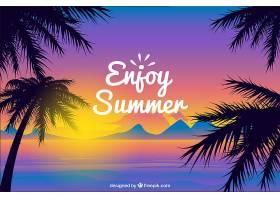 日落时的热带夏季背景_2235322