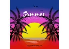 日落时的热带夏季背景_2235324
