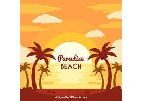 日落时美丽的海滩景观_1104561